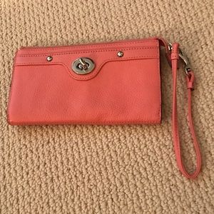 COACH Peach Leather Silver Turnlock Wristlet
